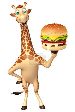 Photo pour 3D illustration rendue de personnage de dessin animé girafe avec burger - image libre de droit