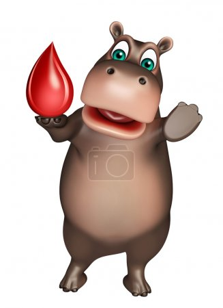 fun Hippo cartoon character with blood drop