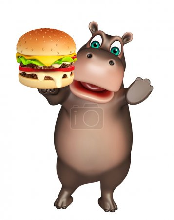 Photo pour 3D illustration rendue de personnage de dessin animé de Hippo avec burger - image libre de droit