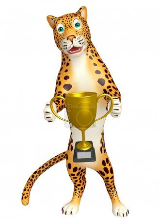 fun Leopard cartoon character  with winning cup