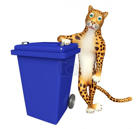 Leopard cartoon character with dustbin