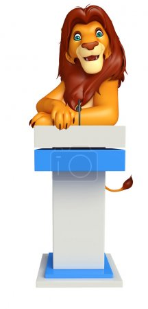 cute Lion cartoon character with speech stage