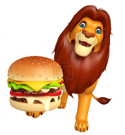 Photo pour 3D illustration rendue de personnage de dessin animé de Lion avec burger - image libre de droit
