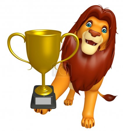 fun  Lion cartoon character with winning cup