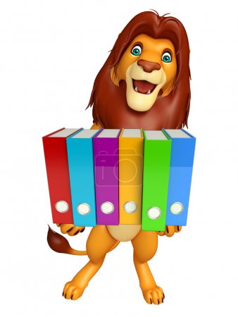 Lion cartoon character with files