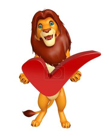 Photo pour 3D illustration rendue de personnage de dessin animé de Lion avec bon signe - image libre de droit