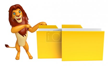 cute Lion cartoon character with folder