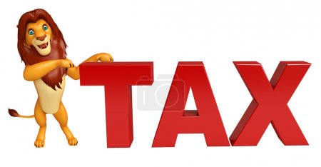 Lion cartoon character with tax sign