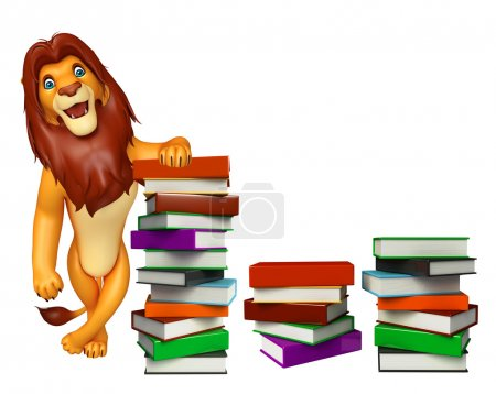 cute Lion cartoon character with book