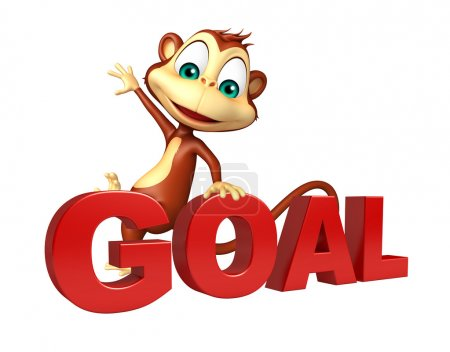 Monkey cartoon character with goal sign