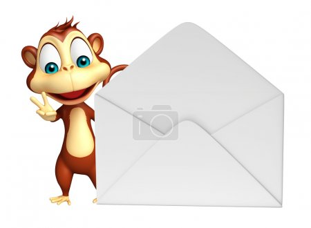 cute Monkey cartoon character with mail
