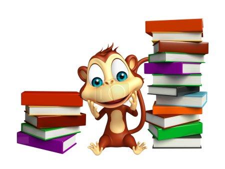 fun Monkey cartoon character with book