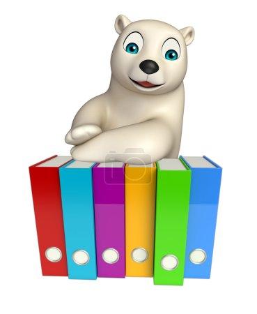 cute  Polar bear cartoon character with files