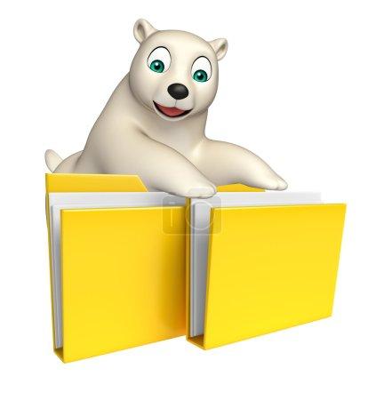 cute  Polar bear cartoon character with folder