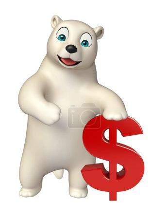 Photo pour Illustration en 3D du personnage de bande dessinée ours polaire avec signe dollar - image libre de droit
