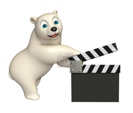 Polar bear cartoon character with clapboard