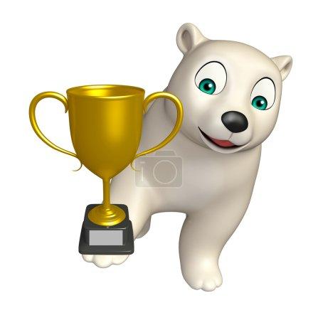 Polar bear cartoon character with winning cup