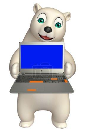 Polar bear cartoon character with laptop