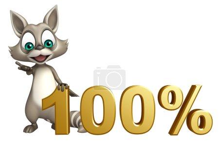 fun Raccoon cartoon character with 100% sign