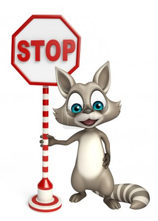 Raccoon cartoon character with stop sign