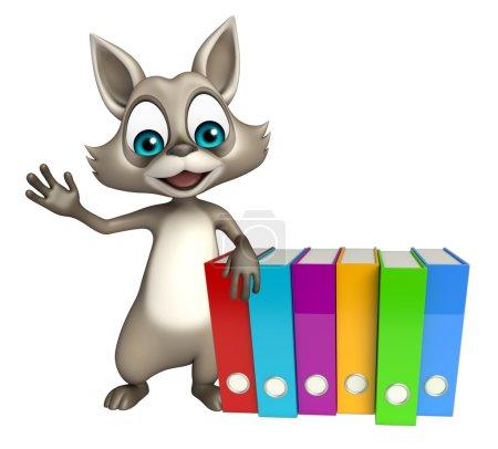 Raccoon cartoon character with files