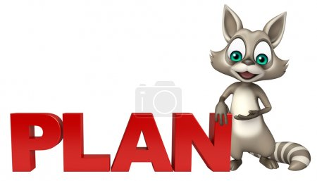cute Raccoon cartoon character with plan