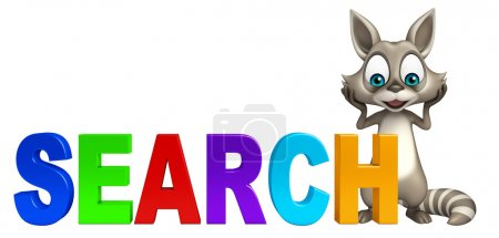cute Raccoon cartoon character with search sign