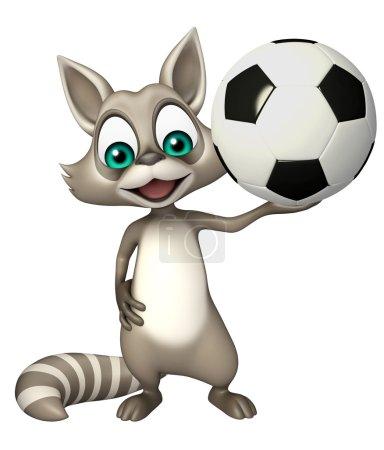 cute Raccoon cartoon character  with football