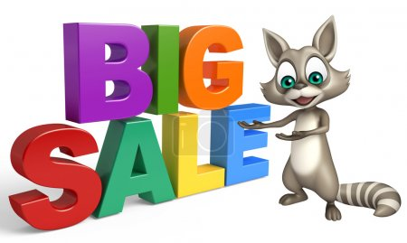 Fun Raccoon cartoon character with bigsale sign