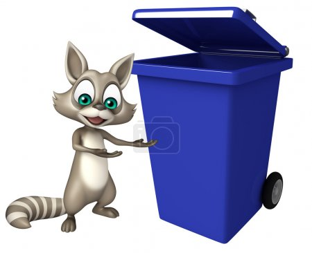 Raccoon cartoon character with dustbin