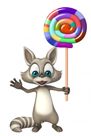 Raccoon cartoon character with lollypop