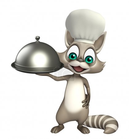 fun Raccoon cartoon character with chef hat and cloche