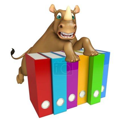 Fun Rhino cartoon character with files
