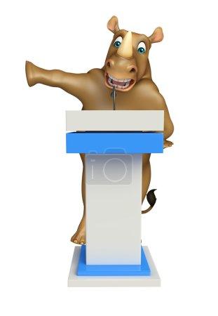 Rhino cartoon character with speech stage