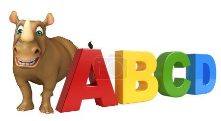 fun Rhino cartoon character with abcd sign