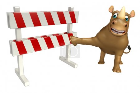 cute Rhino cartoon character with baracade