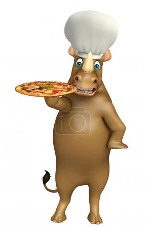 Rhino cartoon character with pizza  and chef hat