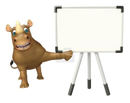 fun Rhino cartoon character with display board