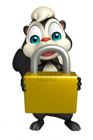 cute Skunk cartoon character with lock
