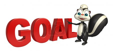 fun Skunk cartoon character with goal sign