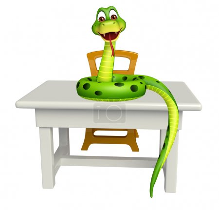 cute Snake cartoon character  with table and chair
