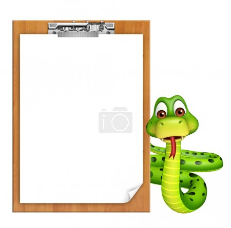 Snake cartoon character with exam pad