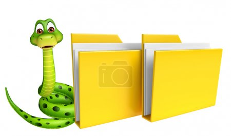 fun Snake cartoon character with folder