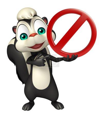 fun Skunk cartoon character with stop sign