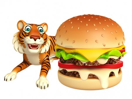 Photo pour 3D illustration rendue de personnage de dessin animé de tigre avec burger - image libre de droit