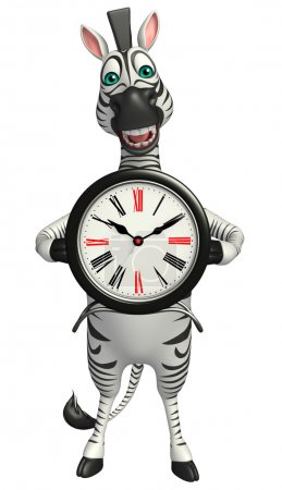 Cute Zebra cartoon character with clock