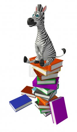 Photo for 3d rendered illustration of Zebra cartoon character with book stack - Royalty Free Image