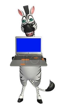 Zebra cartoon character with laptop