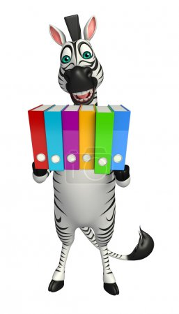 Zebra cartoon character with files