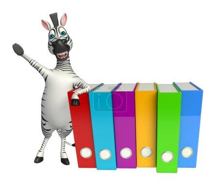 cute Zebra cartoon character with files